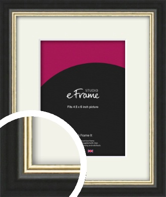 Gold Accent Black Picture Frame & Mount, 4.5x6