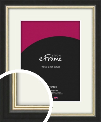 Gold Accent Black Picture Frame & Mount, 6x8