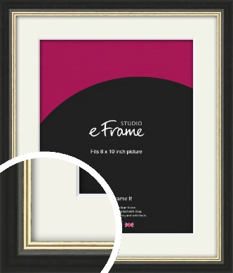 Gold Accent Black Picture Frame & Mount, 8x10