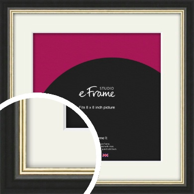 Gold Accent Black Picture Frame & Mount, 8x8