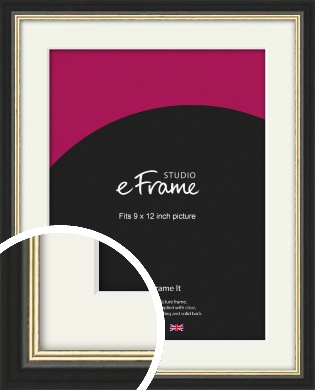 Gold Accent Black Picture Frame & Mount, 9x12