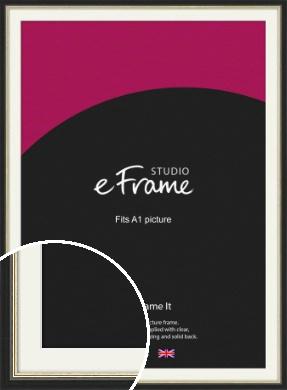 Gold Accent Black Picture Frame & Mount, A1 (594x841mm) (VRMP-1070-M-A1)