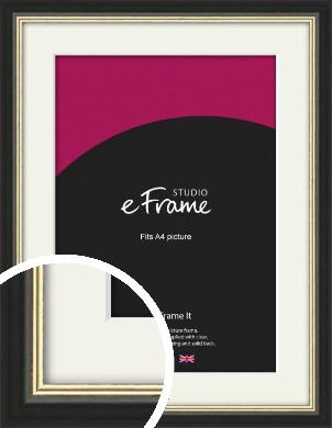 Gold Accent Black Picture Frame & Mount, A4 (210x297mm) (VRMP-1070-M-A4)