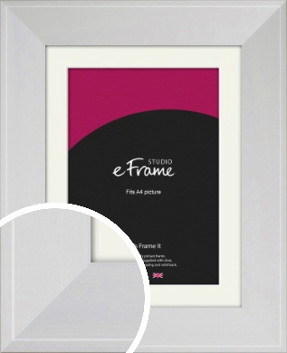 Seamless Wide Snow White Picture Frame & Mount, A4 (210x297mm) (VRMP-1072-M-A4)