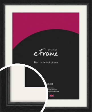 Highly Textured Black Picture Frame & Mount, 11x14