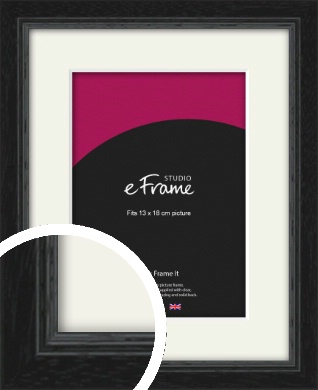 Highly Textured Black Picture Frame & Mount, 13x18cm (5x7