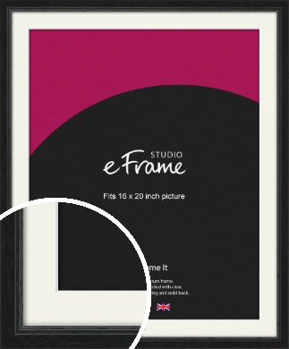 Highly Textured Black Picture Frame & Mount, 16x20