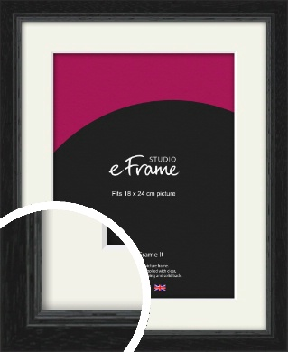 Highly Textured Black Picture Frame & Mount, 18x24cm (VRMP-1082-M-18x24cm)