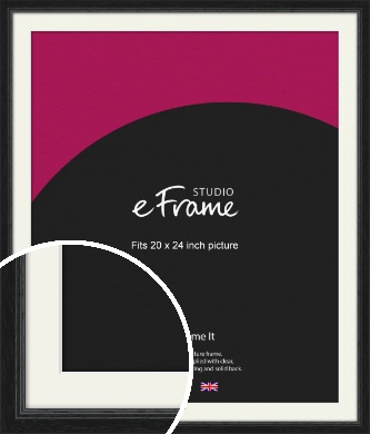 Highly Textured Black Picture Frame & Mount, 20x24
