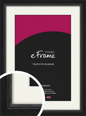 Highly Textured Black Picture Frame & Mount, 20x30cm (8x12