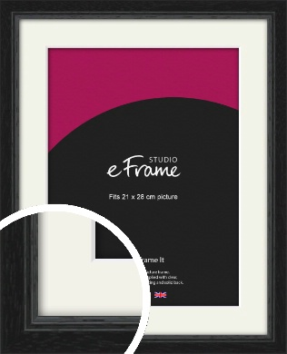 Highly Textured Black Picture Frame & Mount, 21x28cm (VRMP-1082-M-21x28cm)