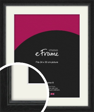 Highly Textured Black Picture Frame & Mount, 24x30cm (VRMP-1082-M-24x30cm)