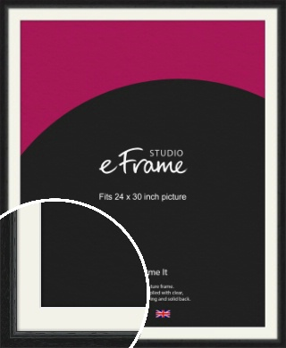 Highly Textured Black Picture Frame & Mount, 24x30