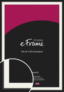 Highly Textured Black Picture Frame & Mount, 24x36