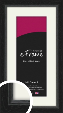 Highly Textured Black Picture Frame & Mount, 4x10