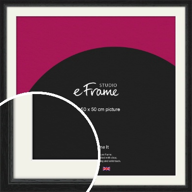 Highly Textured Black Picture Frame & Mount, 50x50cm (VRMP-1082-M-50x50cm)