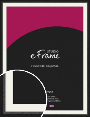 Highly Textured Black Picture Frame & Mount, 60x80cm (VRMP-1082-M-60x80cm)