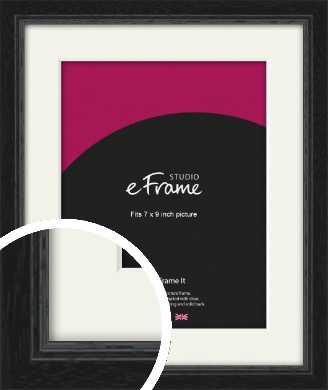 Highly Textured Black Picture Frame & Mount, 7x9