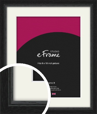 Highly Textured Black Picture Frame & Mount, 8x10