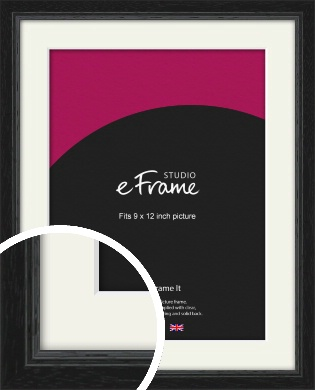 Highly Textured Black Picture Frame & Mount, 9x12