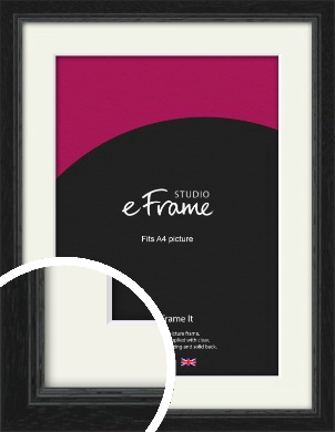 Highly Textured Black Picture Frame & Mount, A4 (210x297mm) (VRMP-1082-M-A4)