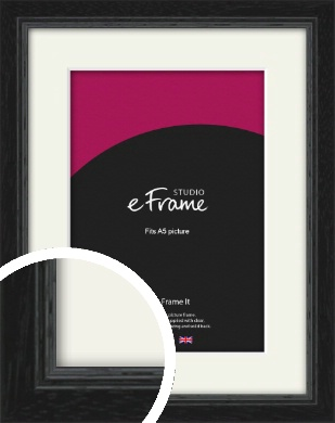 Highly Textured Black Picture Frame & Mount, A5 (148x210mm) (VRMP-1082-M-A5)