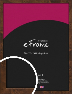 Narrow Mid Burl Brown Picture Frame, 12x16
