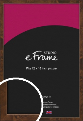 Narrow Mid Burl Brown Picture Frame, 12x18