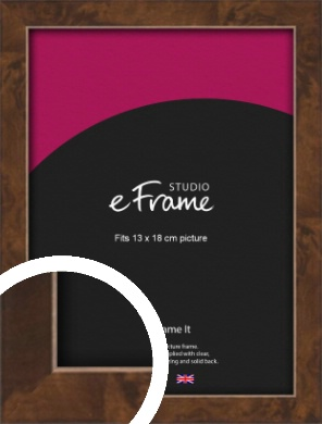 Narrow Mid Burl Brown Picture Frame, 13x18cm (5x7