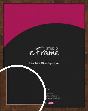 Narrow Mid Burl Brown Picture Frame, 14x18