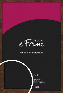 Narrow Mid Burl Brown Picture Frame, 16x24
