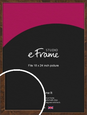 Narrow Mid Burl Brown Picture Frame, 18x24