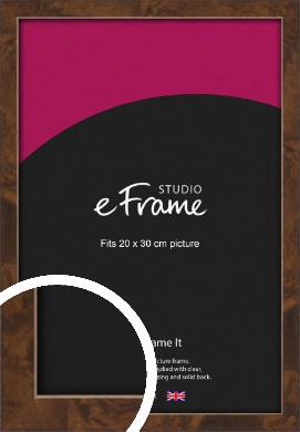 Narrow Mid Burl Brown Picture Frame, 20x30cm (8x12