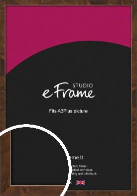 Narrow Mid Burl Brown Picture Frame, A3Plus (VRMP-1084-329x483mm)