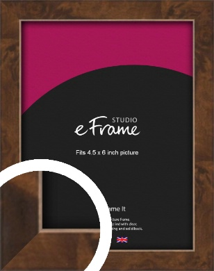 Narrow Mid Burl Brown Picture Frame, 4.5x6