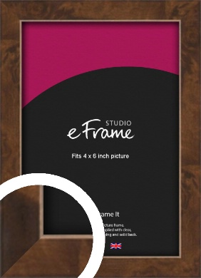 Narrow Mid Burl Brown Picture Frame, 4x6