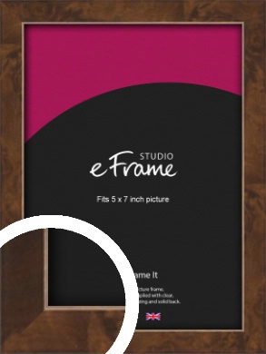 Narrow Mid Burl Brown Picture Frame, 5x7