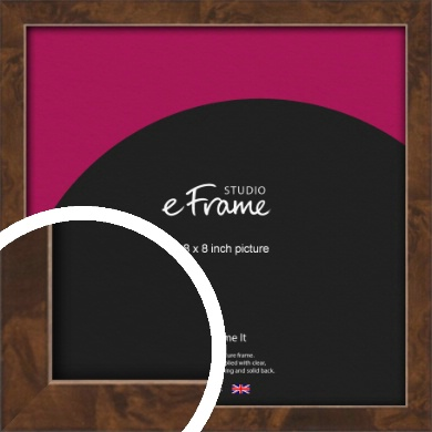 Narrow Mid Burl Brown Picture Frame, 8x8