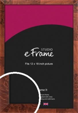 Narrow Rich Burl Brown Picture Frame, 12x18
