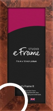 Narrow Rich Burl Brown Picture Frame, 4x10