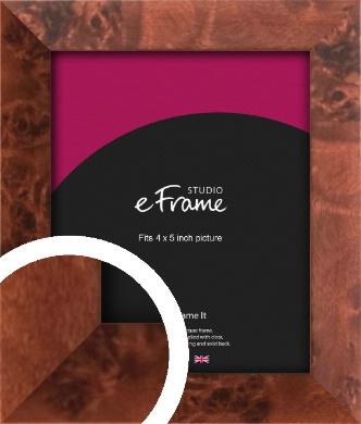 Narrow Rich Burl Brown Picture Frame, 4x5