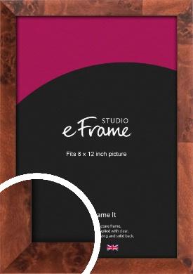 Narrow Rich Burl Brown Picture Frame, 8x12