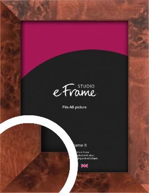 Narrow Rich Burl Brown Picture Frame, A6 (105x148mm) (VRMP-284-A6)