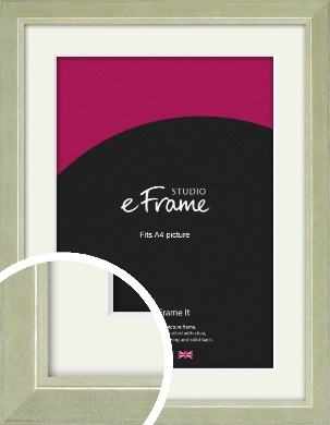Shabby Chic Sage Green Picture Frame & Mount, A4 (210x297mm) (VRMP-1090-M-A4)