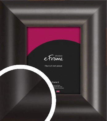 Wide Smooth Curved Black Picture Frame, 4x5