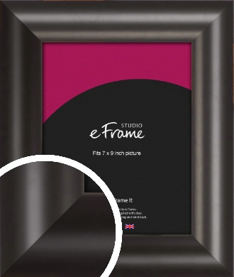 Wide Smooth Curved Black Picture Frame, 7x9