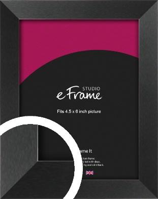 Simple Deep Open Grain Black Picture Frame, 4.5x6
