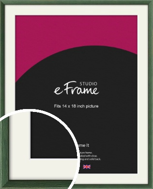 Simple Grain Green Picture Frame & Mount, 14x18