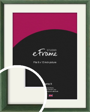 Simple Grain Green Picture Frame & Mount, 9x12