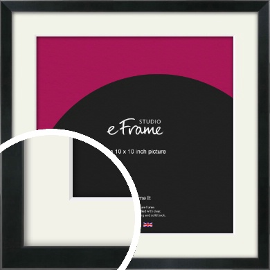 Simple Narrow Black Picture Frame & Mount, 10x10